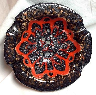 Vintage Mid Century Modern Ashtray Orange Fat Lava West Germany Tobacciana MCM
