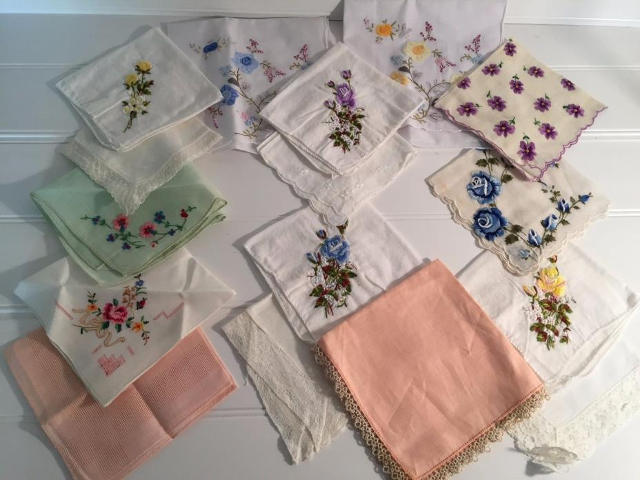 Vintage Lot 16 Hankies Hankys Handkerchiefs 20307