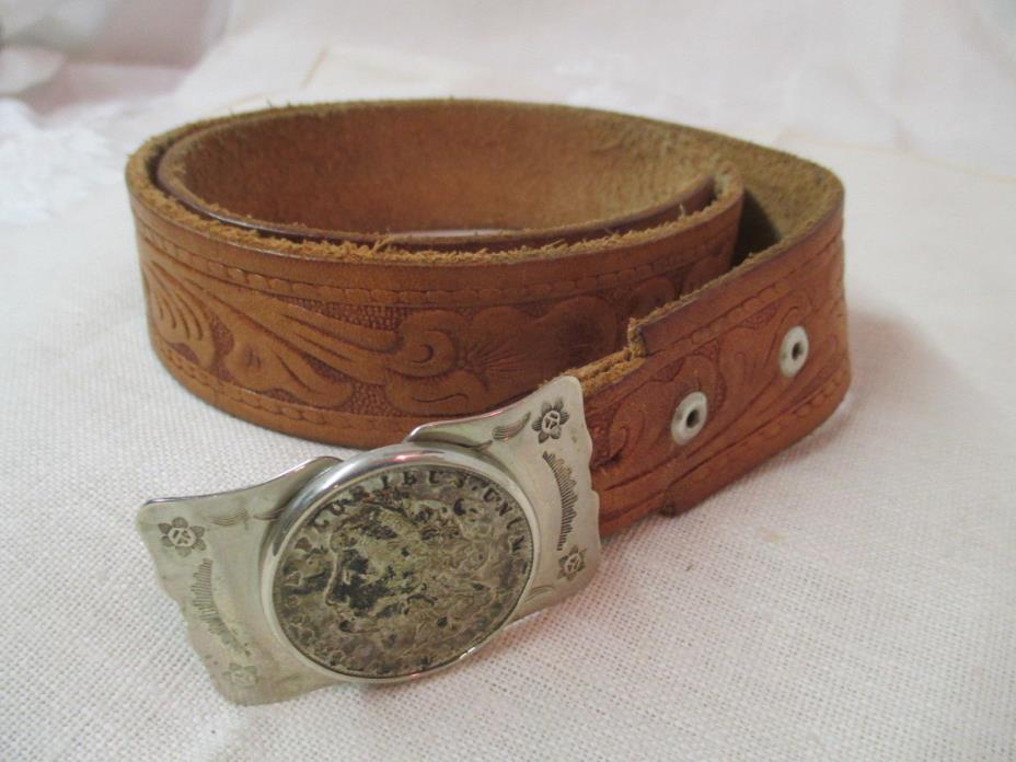 Vintage Tooled Leather Belt Bell Nickel Silver Buckle Morgan 1921 Silver Dollar