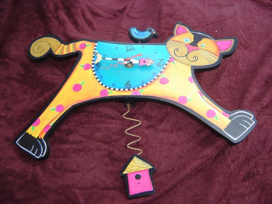 New MICHELLE ALLEN Designs WALL CLOCK CAT Swing Pendulum Bird Cage