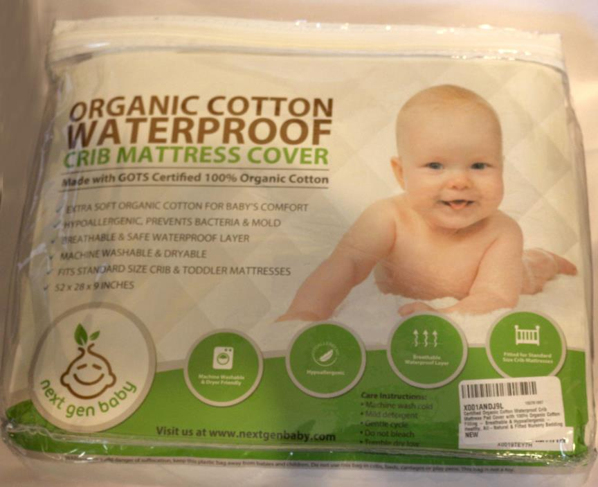Certified Organic Cotton Waterproof Crib Mattress Pad Cover with 100%...