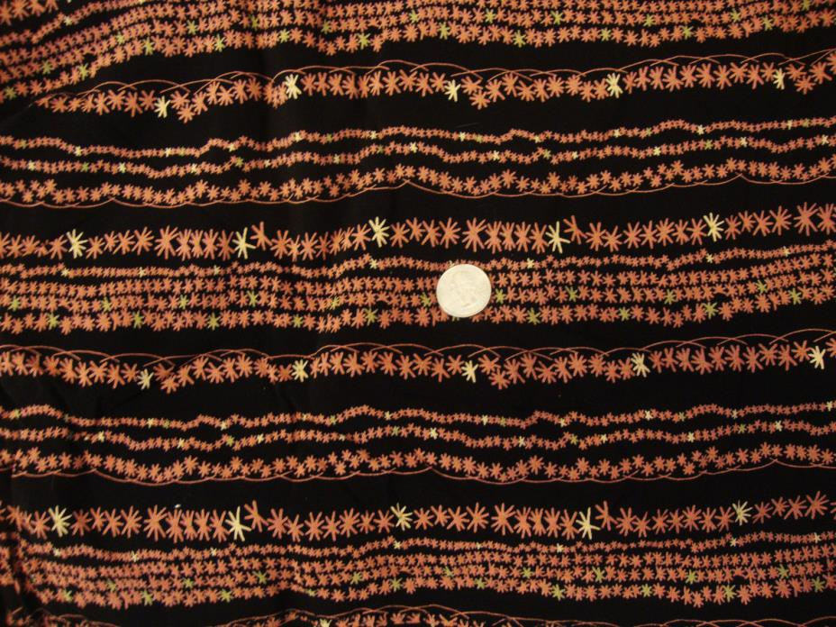 Vintage Rayon Fabric * Black with Pink Coral Abstrct Stripes * 4.5 Yards X 58