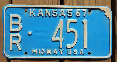 Vintage KANSAS 1967 Car License Plate with number BR451
