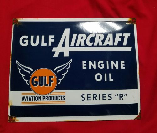 gulf aircraft engine oil porcelain sign.