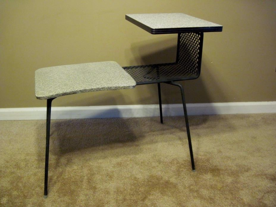 Mid century modern Atomic Eames gossip bench phone table desk entry way chair