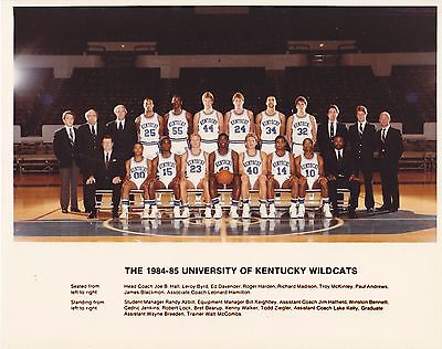 1984-85 Kentucky Basketball 8 x 10 Color Team Photo - Hall, Walker, Bennett