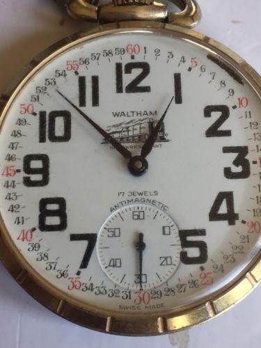 WALTHAM 17 Jewel Railroad Pocket Watch, Working Good