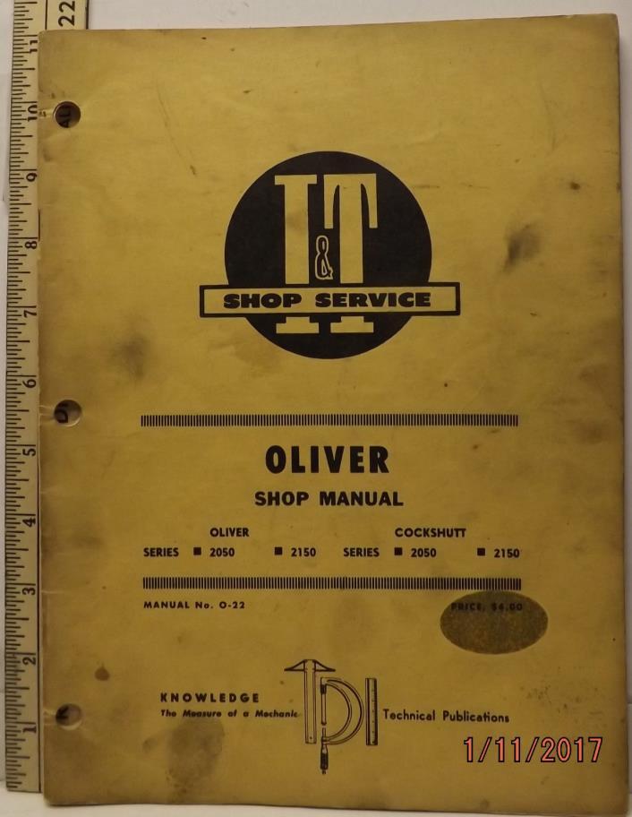 OLIVER COCKSHUTT 2050 2150  TRACTOR I&T SERVICE SHOP MANUAL GOOD SOLID