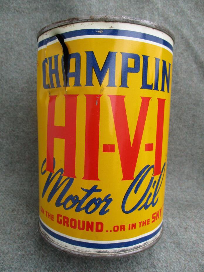 VINTAGE TIN or STEEL CHAMPLIN HI-V-I 1 QUART MOTOR OIL CAN ENID OKLAHOMA OK