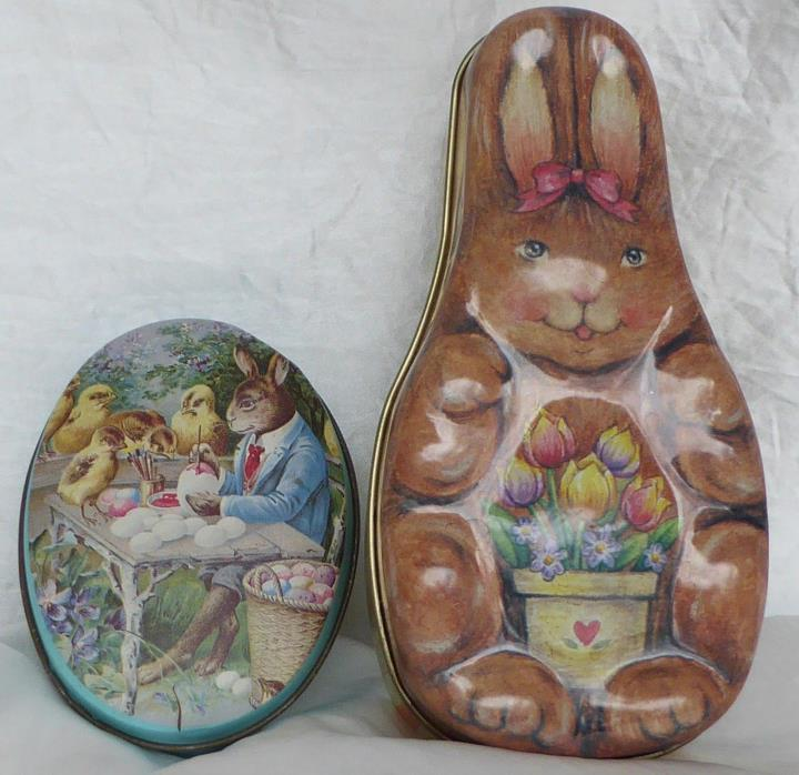 2 Vintage Easter Tins Litho Metal Egg & Bunny Candy Container