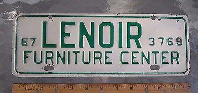 One 1967 Lenior NC Furniture Center license plate topper