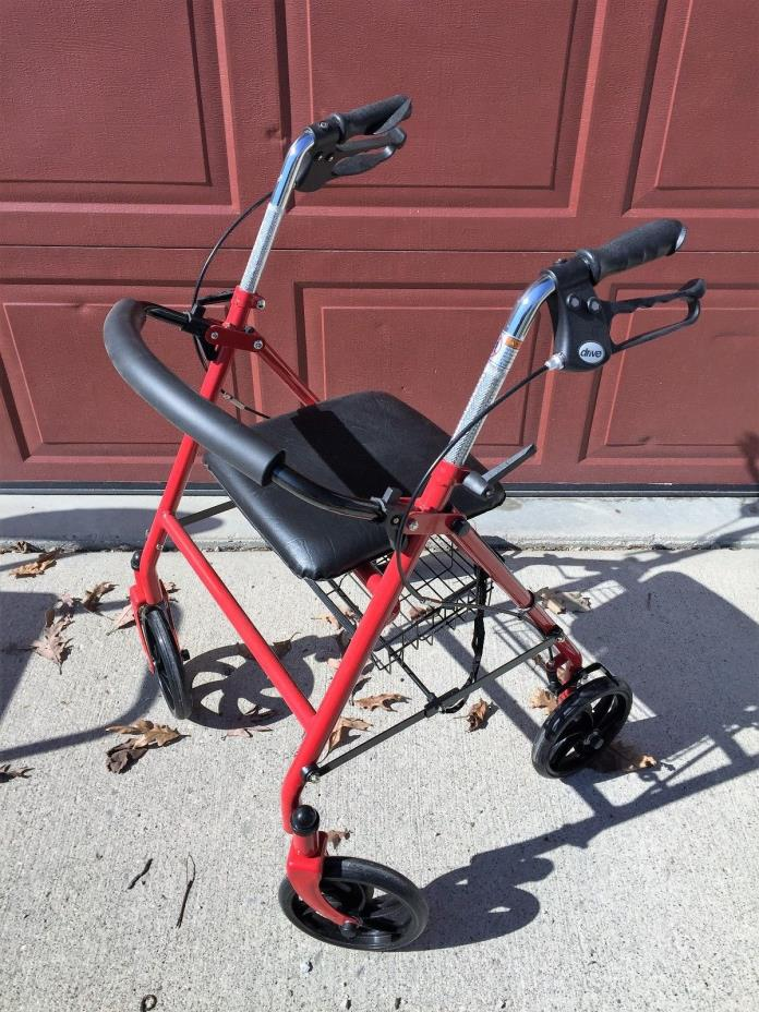 Drive 4 Wheel Rollator Walker Rolling Mobility Medical  Seat  Used