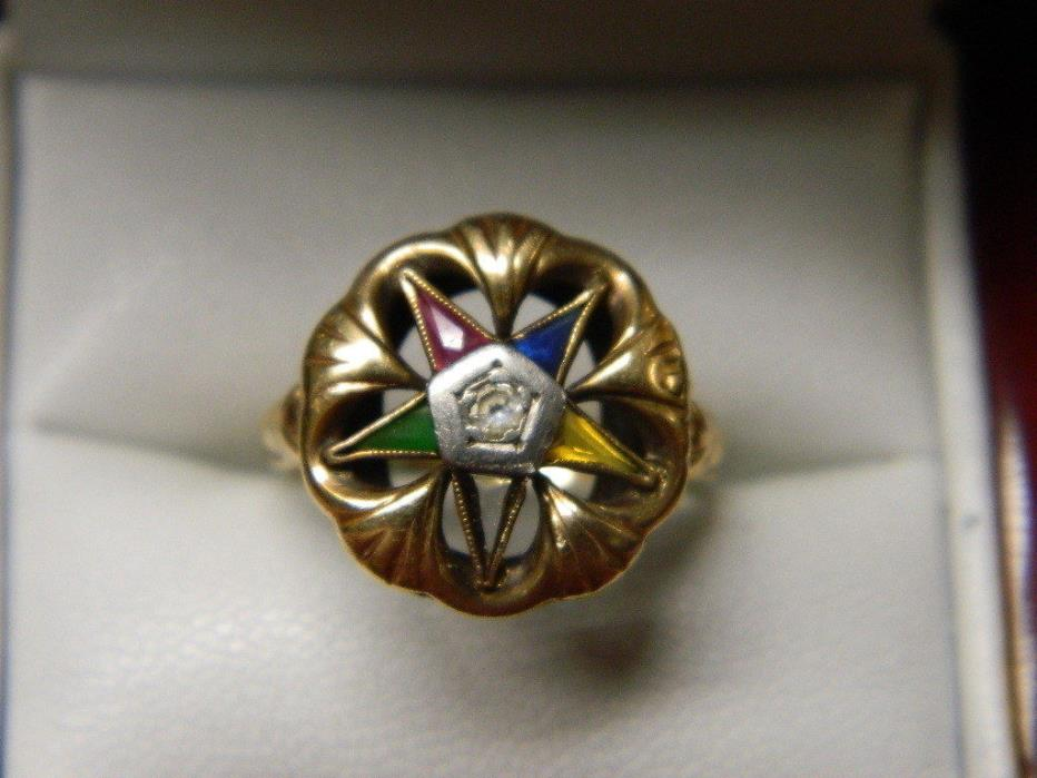 Antique Ladies Eastern Star 10K Yellow Gold Ring Masonic