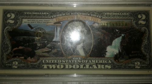 Uncirculated Yellowstone national park 2 dollar bill