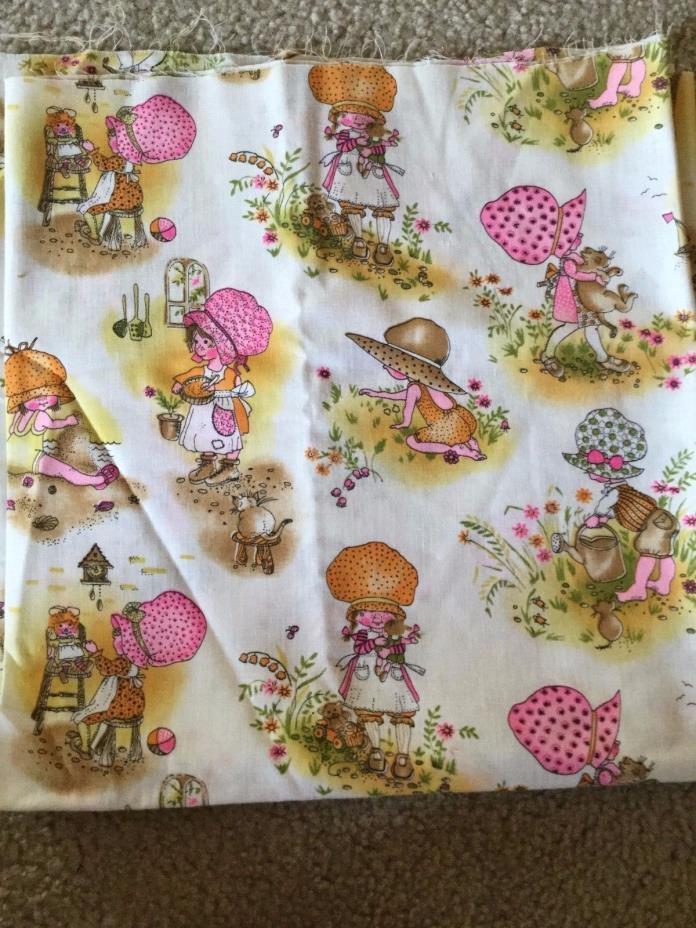 Vintage Holly Hobbie Cotton Manes Fabric Cream Background 44