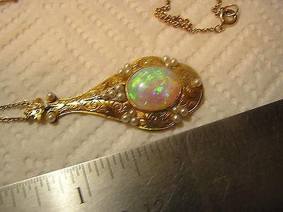 14K Gold Vintage Fire Opal Pendant Stunning
