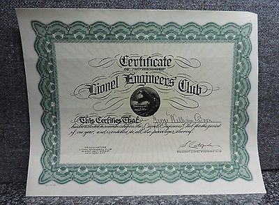 Lionel Engineers Club Certificate 1930's Train