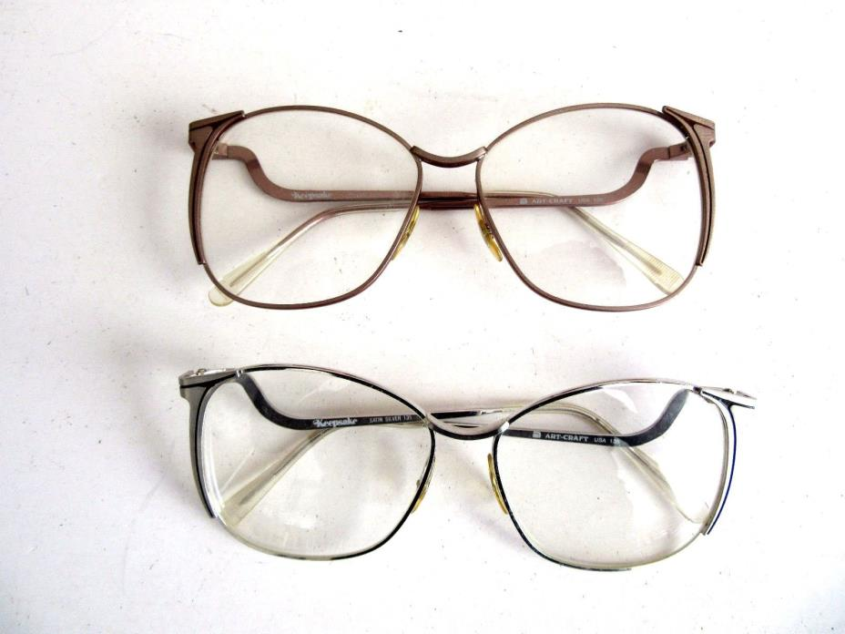 Vintage Lot of 2 Women's  Eyeglasses Sunglasses Frames Artcraft  U.S.A  NOS