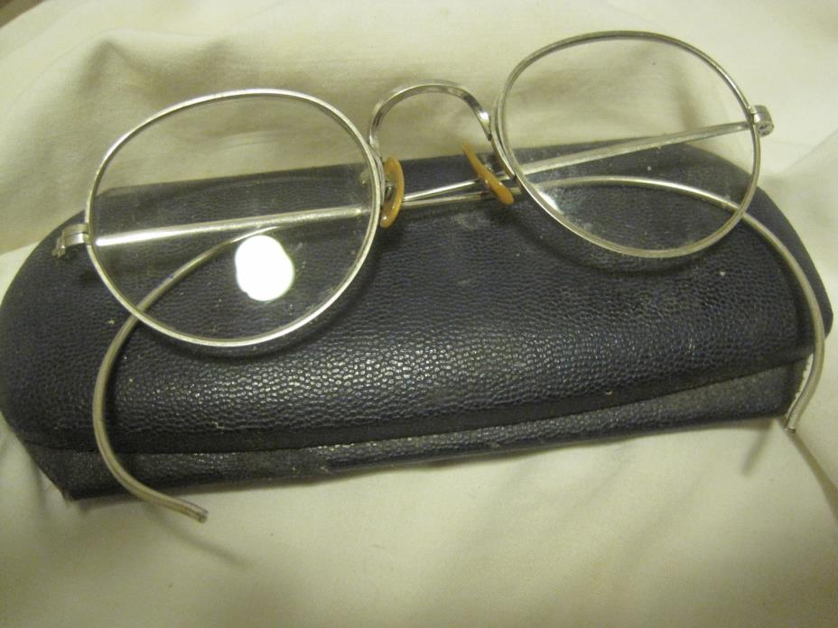 Antique Eye Glasses SILVERTONE FRAMES W/ROUND LENSE GLASSES-Steampunk IN CASE