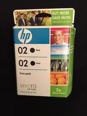 Genuine HP 02 twin pack VIVERAblack ink cartridges EXP 11/2009 SEALED NEW