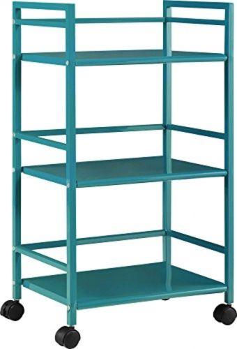 Altra Marshall 3 Shelf Metal Rolling Utility Cart Shelf Wheels Furniture Teal