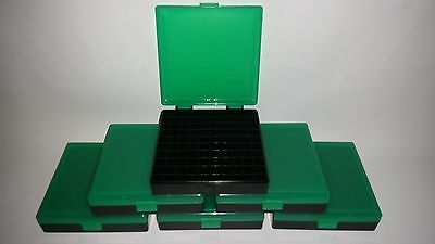BERRY'S PLASTIC AMMO BOXES (6) GREEN 100 Round 40 S&W / 45 ACP - FREE SHIPPING