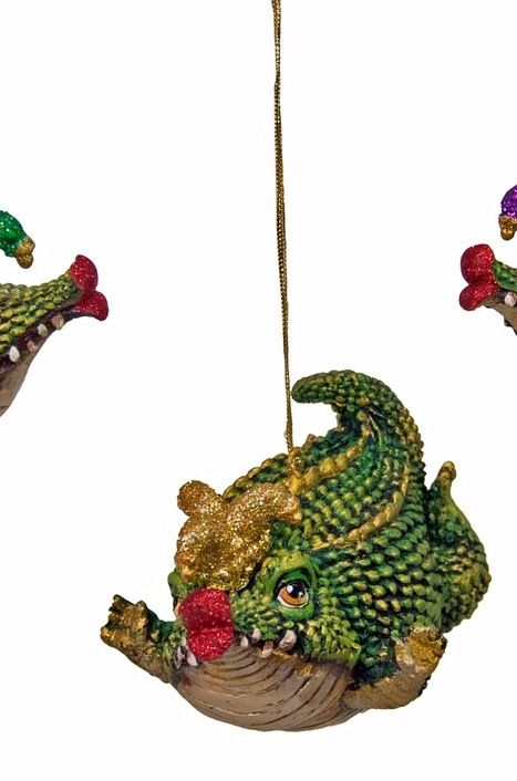katherine's collection gator balloon ornament Mardi Gras 8022 gold jester hat