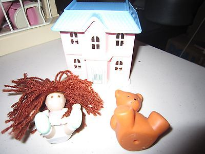 Vintage Little Tikes Dollhouse Victorian Miniature Play House Doll and Bear