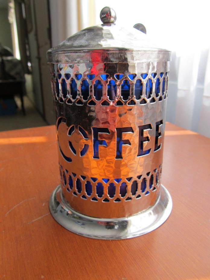 SHEFFIELD ENGLAND Silver Plated Instant Coffee Canister w/ Blue Insert & Spoon