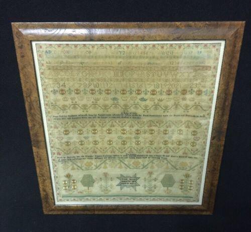 Large Exquisite American Antique Sampler Dated 1817