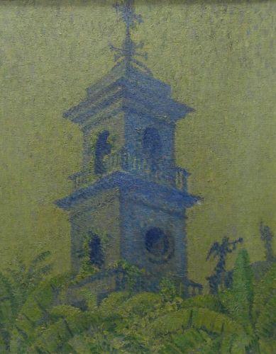 Original art Impressionist oil painting Church building tower