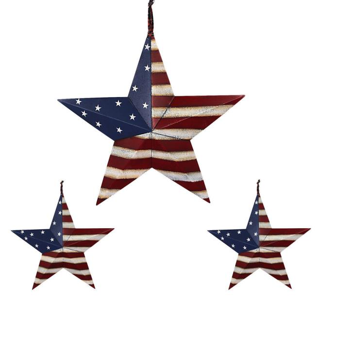 Set of 3 Metal Patriotic Distressed Americana Flag Barn 3D Star July 4th Decor