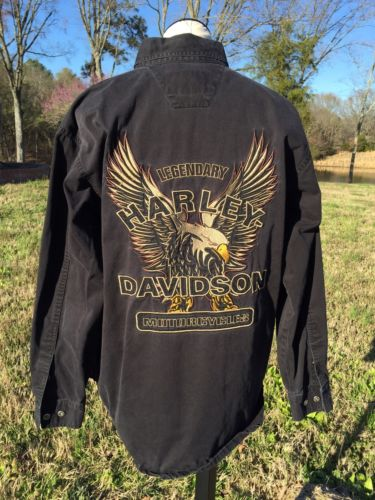 Harley Davidson Mens LS Front Button Black Shirt...Sz M..Wild Embroidered Eagle