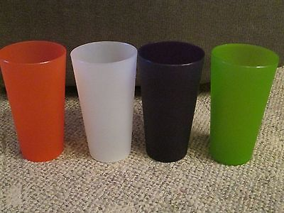 4 Heavy Duty Plastic Tumblers. Multicolored. 20 Ounce.