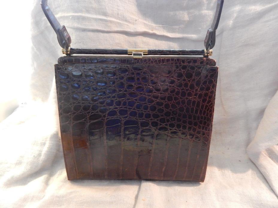 Vintage 1940s-1950s Brown Alligator Skin Purse Handbag Mayer, NY