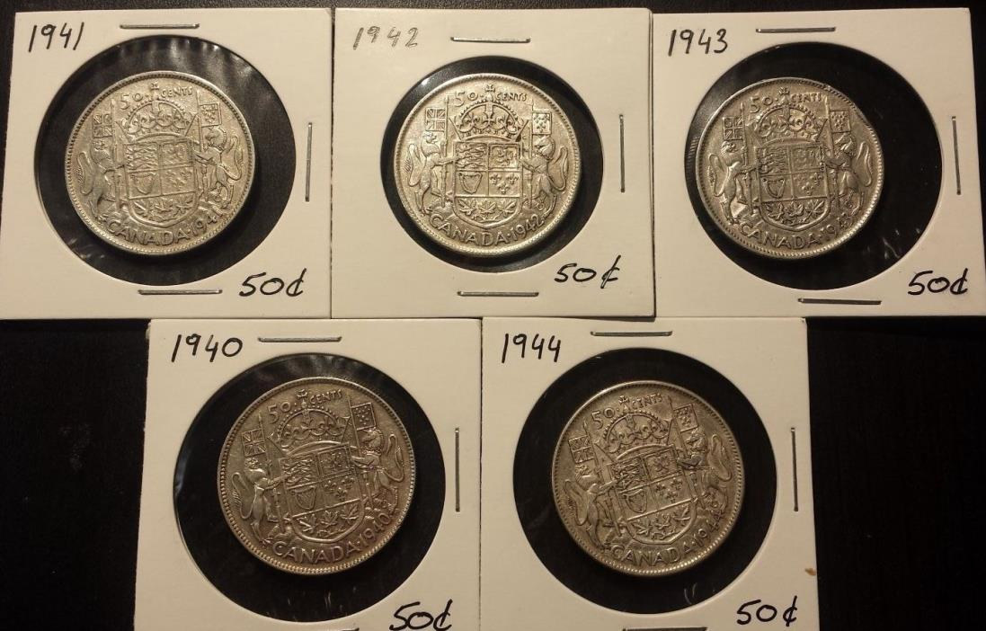 5 coin set all different years Canada 50 Cents Silver Coins (1940 - 1944)