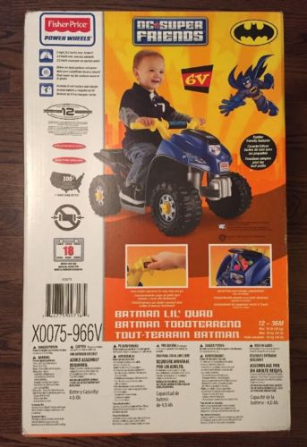 Fisher Price Power Wheels Batman Lil QUAD, 6 Volt ATV Kids Ride On QUAD BIKE