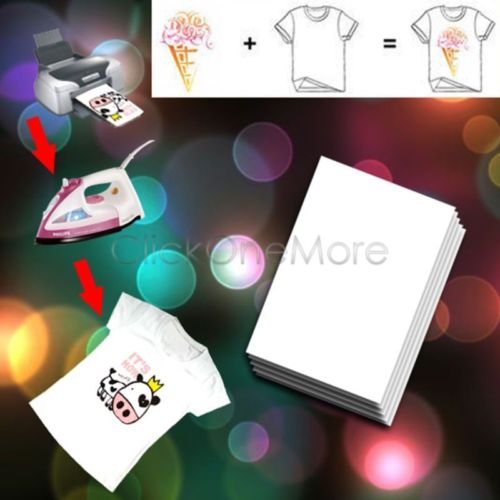 20 X A4 White Light-Colored Iron-On Heat T-Shirt Transfer Paper DIY US