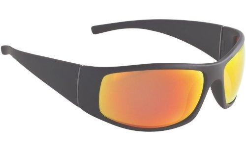 Fisherman Eyewear Bluefin Sunglass, Matte Black Frame, Gray (Red Mirror) Polariz