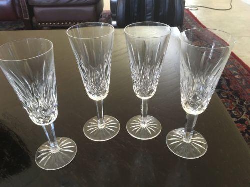 4 Vintage Waterford Lismore Champagne Flutes