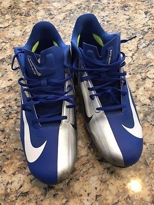 Nike Vapor Talon Elite Hyperfuse Low Football Cleats Silver Royal Blue sz 13.5