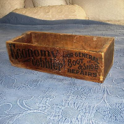 Antique Wooden Economy Cobbler for General Boot & Shoe Repairs Advertising Box