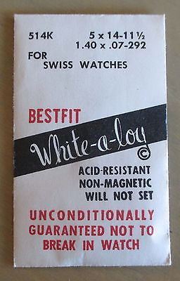 NOS No. 514K White-a-Loy Pocket Watch Mainspring For Swiss Watches 5 x 14-11 1/2