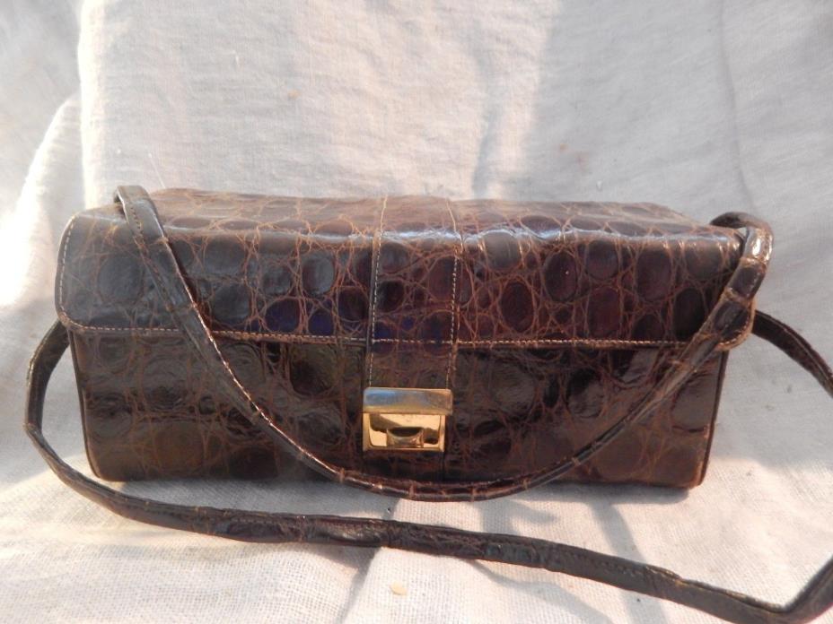 Vintage 1940s-1950s Brown Alligator Skin Purse Handbag Lesco Ungar