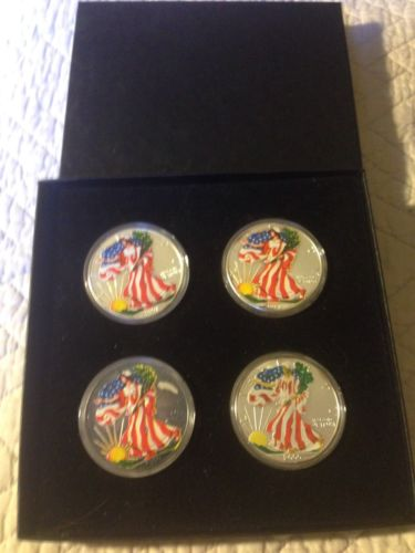 4oz American Silver Eagles Coin Painting And a Box
