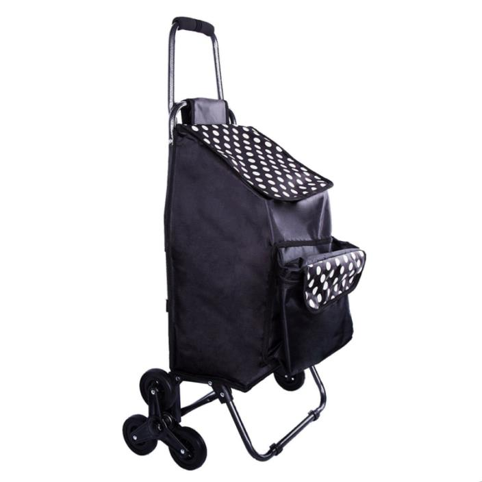 Multipurpose Lightweight Wheeled Shopping Trolley with Front Cooler Bag, Rolling