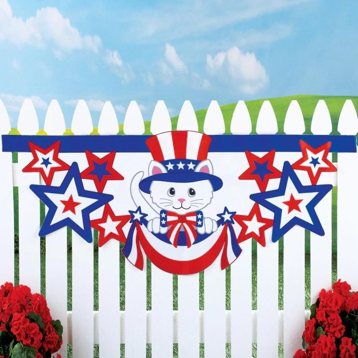 Patriotic 4th of July Stars Stripes Cat Bunting Fence Hanging Outdoor Yard Decor