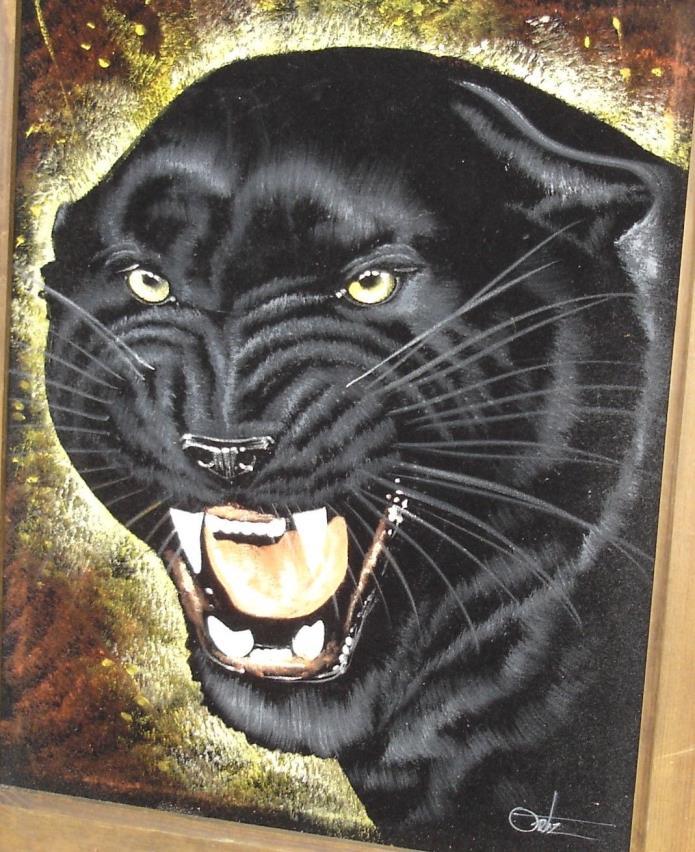 Vintage ORTIZ Original BLACK PANTHER Signed & Framed Oil Painting