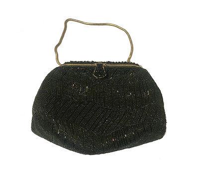 Vintage Green/Black Micro-Beaded Evening Handbag-- One of a Kind!