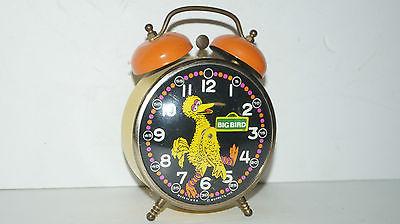 Vintage Big Bird Muppets Inc Sesame Street Wind up Twin Bell Alarm Clock -WORKS